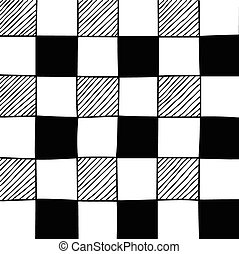 Hand drawn abstract chessboard pattern Vector illustration
