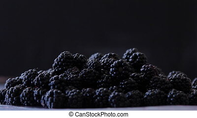 Pile of Blackberry on the Table - Closeup shot of a...
