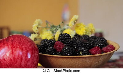 Bowl of Blackberry and Raspberry and Two Apples - Closeup...