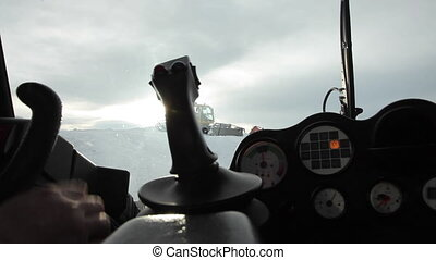 Operating Lever of a Snowcat - Closeup shot of an operating...