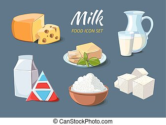 Milk products icons in cartoon style. Food organic cheese...