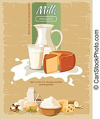 Milk products vintage vector poster. Organic natural fresh...