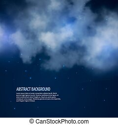 Night sky with stars and clouds vector abstract background -...