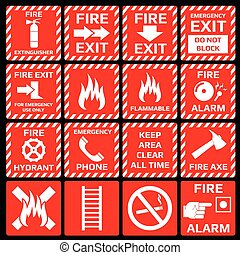 Fire alarm vector symbols set Emergency danger, flame and...
