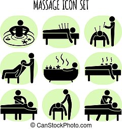 Massage vector black icons set Spa relaxation health,...