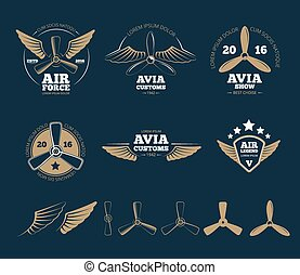 Aircraft design vector elements and logos - Aircraft design...