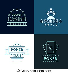 Casino and poker club labels, emblems logos set in linear...
