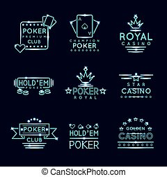 Vintage neon hipster poker club and casino signs Royal...