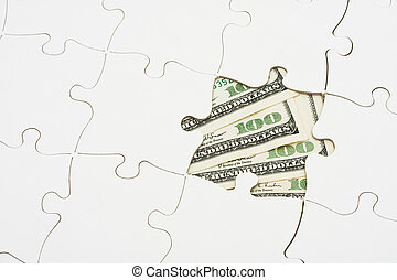 Solving Money Problems - White puzzle on one hundred dollar...