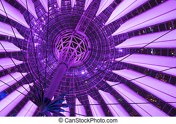 Purple ceiling of sony center Berlin at night