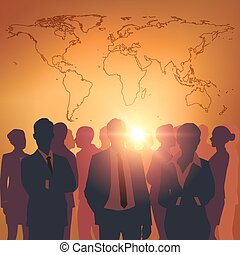 Business meeting with worldmap