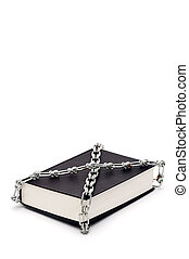 Vertical book chained in censorship
