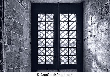 Window in the Templar Church in the Portugal City of Tomar,...