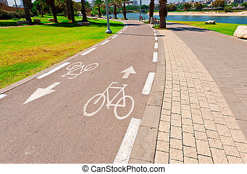 Bicycle Track along the Yarkon river in Tel Aviv, Israel