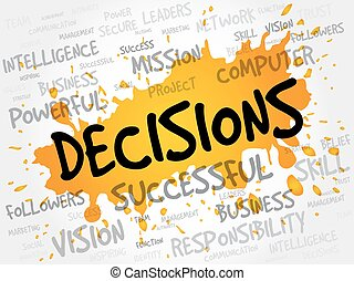 DECISIONS word cloud, business concept