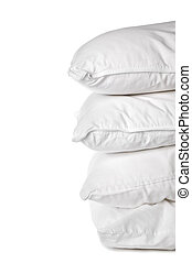 A stack of 4 white pillowcases on white