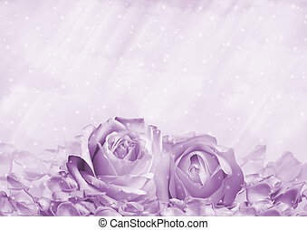 Romantic background with roses and petals with space for...