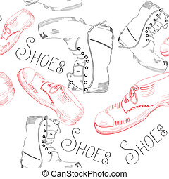 seamless pattern with shoes on white background