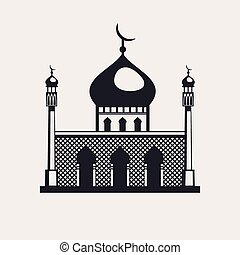 Mosque building a religious symbol vector icon