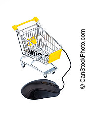 basket and computer mouse symbolizing online shopping