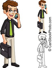 Businessman Geek with Glasses Holding Smart Phone and...