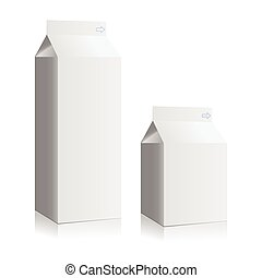 Juice and milk blank white boxes. Mock-up packages
