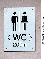 sign restrooms man woman, symbol of sanitation technology,...