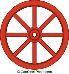 Vintage wooden wheel in red design on white background