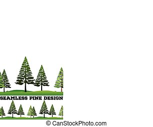 Seamless pine trees on the field illustration