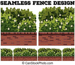Seamless fence design with bush and flowers
