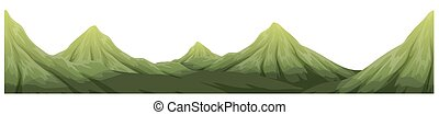 Seamless green mountain range illustration
