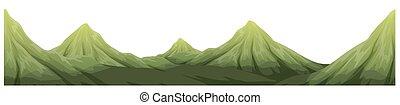 Seamless green mountain range illustration