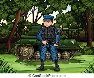 Soldier with gun by the tank