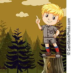 Little boy standing on log