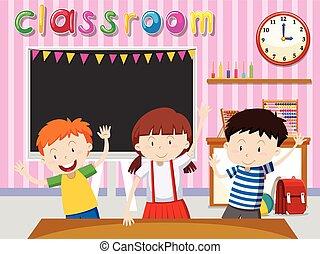 Children being happy in classroom