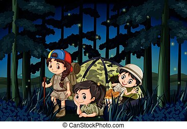 Girls camping out in the forest at night illustration
