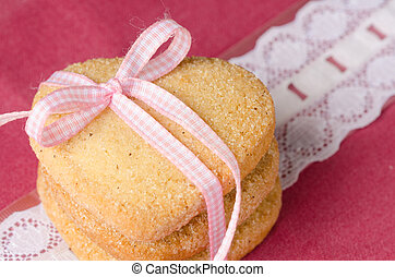 Heart-shaped butter cookies with sugar - Three shortbread,...