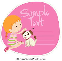 Border design with girl and dog