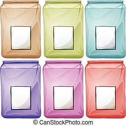 Bags in different colors illustration