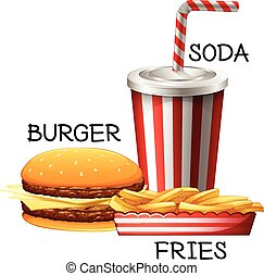 Fastfood set with burger and fries