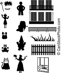 Work, Pleasure and fantasy - Vector silhouettes - Set of...