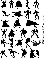 Superhero Silhouettes - Collection of 25 Superhero...