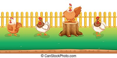 Four chickens standing in the field illustration