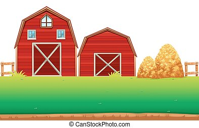 Red barns on the farm illustration