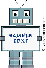 Robot with box for sample text - Fully vector funny robot...