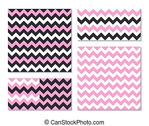 Set of pink seamless patterns with zig zag stripes - Set of...