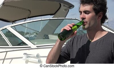 Drinking Beer Near Boat