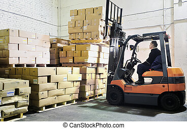 Forklift loader in warehouse