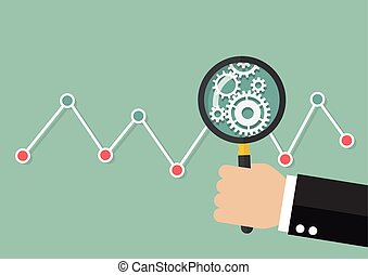 Hand holding magnifying glass with stock market graph