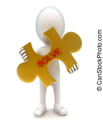 3d man holding a golden puzzle in hands with solve text in it concept